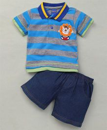Happy Life Stripes Printed Polo T-Shirt & Shorts Set - Blue