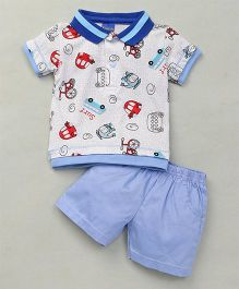 Happy Life Car Printed Polo T-Shirt & Shorts Set - White & Blue