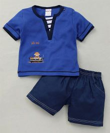 Happy Life Boat Applique T-Shirt & Shorts Set - Blue
