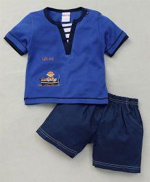 Happy Life Boat Applique T-Shirt & Shorts Set - Blue