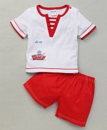 Happy Life Boat Applique T-Shirt & Shorts Set - White & Red