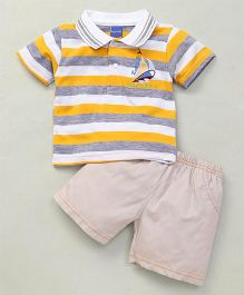 Happy Life Stripes Printed Polo T-Shirt & Shorts Set - Yellow & Grey