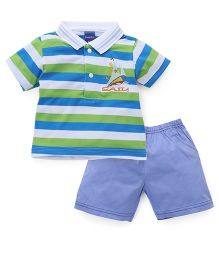 Happy Life Stripes Printed Polo T-Shirt & Shorts Set - Green & Blue