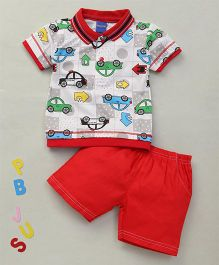 Happy Life Car Printed Polo T-Shirt & Shorts Set - White & Red