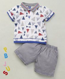 Happy Life Geometrical Printed Polo T-Shirt & Shorts Set - White & Grey