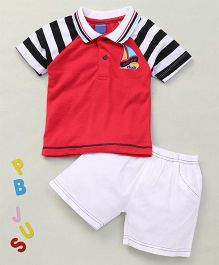 Happy Life Sailing Club Print Tee & Shorts - Red & White