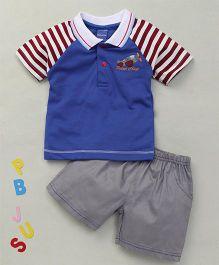 Happy Life Plane Applique Polo T-Shirt & Shorts Set - Blue & Grey