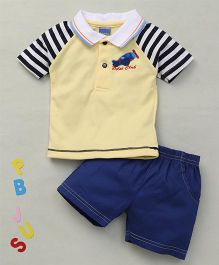 Happy Life Plane Applique Polo T-Shirt & Shorts Set - Yellow & Blue
