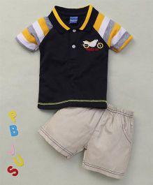 Happy Life Vehicle Applique Polo T-Shirt & Shorts Set - Navy & Cream