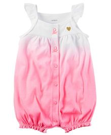 Carter's Snap-Up Cotton Romper - White & Pink