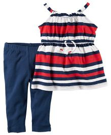 Carter's 2-Piece Striped Tunic & Pant Set - Red