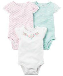 Carter's 3-Pack Flutter Sleeve Bodysuits - Multi Color