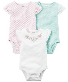 Carter's 3-Pack Flutter Sleeve Bodysuits - Multi Color