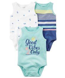Carter's 3-Pack Sleeveless Bodysuits - Mint Green Blue White