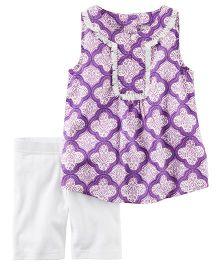 Carter's 2-Piece Printed Tunic & Playground Short Set - Purple White