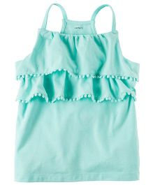 Carter's Pom Pom Layered Tank Top - Turquoise