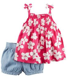 Carter's 2-Piece Smocked Floral Tank Top & Chambray Bubble Short Set - Pink Blue