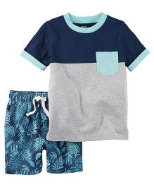 Carter's 2-Piece Pocket Tee & French Terry Short Set - Grey And Blue