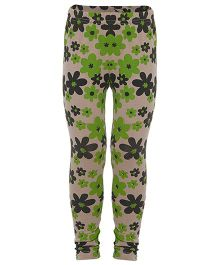 Earth Conscious Full Length Leggings Floral Print - Green & Beige