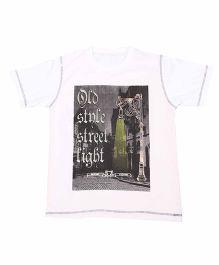 Earth Conscious Half Sleeves T-Shirt Graphic Print  - White