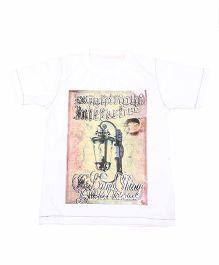 Earth Conscious Half Sleeves Graphic Print T-Shirt - White