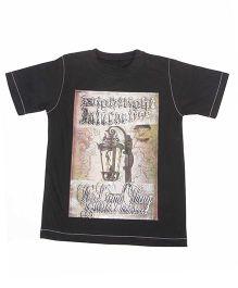 Earth Conscious Half Sleeves Graphic Print T-Shirt - Black