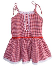 Little Dress Amie Tie Up Strap Dress - Red & White