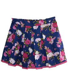 Little Dress Rose Box Pleated Skirt - Navy Blue