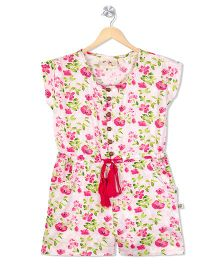 Budding Bees Floral Printed Jumpsuit - Pink