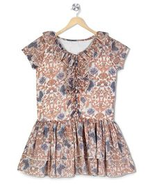 Budding Bees Floral Printed Frill Neck Dress - Off White