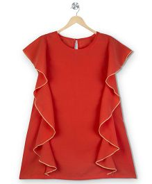 Budding Bees Solid Frill Kaftan Dress - Red