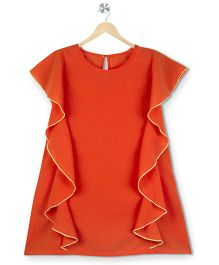 Budding Bees Solid Frill Kaftan Dress - Orange
