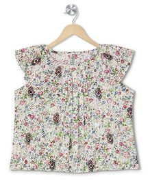Budding Bees Floral Pleated Crop Top - Off White