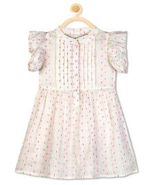 Budding Bees Printed Pleated Gathered Dress - Off White