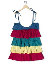 Budding Bees Solid Layered Dress - Multicolor