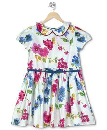 Budding Bees Floral Printed Gathered Dress - Multicolor
