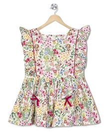 Budding Bees Floral Printed Frill Dress - Multicolor