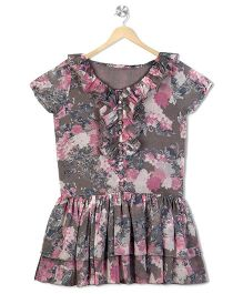Budding Bees Floral Printed Frill Neck Dress - Grey