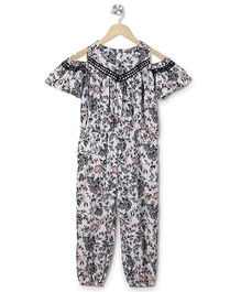 Budding Bees Floral Print Jumpsuit - Off White