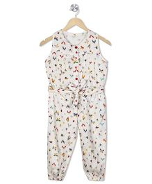 Budding Bees Infant Printed Jumpsuit - Off White