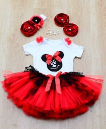 Tu Ti Tu Sweet Mousey Bodysuit & Tutu Skirt Set - Red & Black
