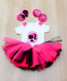 Tu Ti Tu Little Girl Bodysuit & Tutu Skirt Set - Red & Black