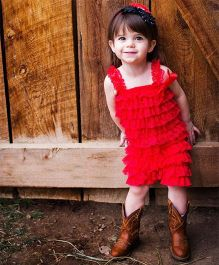 Dazzling Dolls Lace Romper With Matching Headband - Red