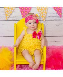 Dazzling Dolls Lace Romper With Matching Headband - Golden Yellow