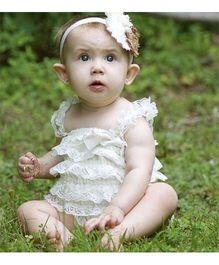 Dazzling Dolls Lace Romper With Matching Headband - White