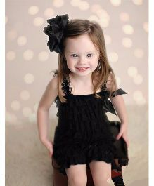 Dazzling Dolls Lace Romper With Matching Headband - Black