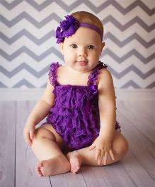 Dazzling Dolls Lace Romper With Matching Headband - Purple