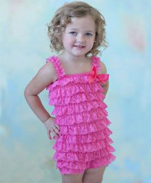 Dazzling Dolls Lace Romper With Matching Headband - Rose Pink