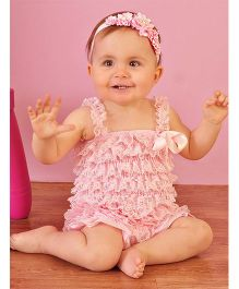 Dazzling Dolls Lace Romper With Matching Headband - Baby Pink