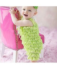 Dazzling Dolls Lace Romper With Matching Headband - Lime Green
